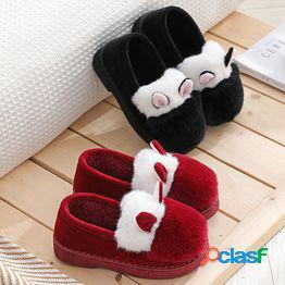 Señoras lindas orejas de oveja diseño zapatos cálidos interior casa algodón zapatillas botas de nieve