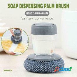 Cepillo de limpieza de cocina multifuncional con agente de limpieza, llenado automático de líquidos y cepillo de lavado de ollas