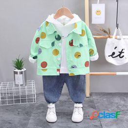 Traje de tres piezas de primavera para niños niños pequeños bebé primavera y otoño traje de manga larga 01-2-3 años ropa infantil para niños ropa de estilo extranjero para niños