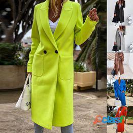 Moda para mujer solapa mezcla de lana parka larga gabardinas color sólido chaqueta para mujer ropa de abrigo abrigo con botones s-3xl