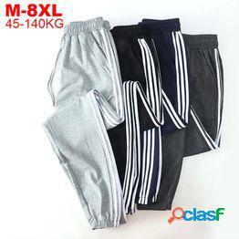 Pantalones de chándal hombres pantalones de chándal de algodón gris negro pantalones de hombre de gran tamaño tallas grandes 6xl 7xl 8xl pantalones deportivos de rayas hombre