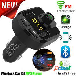 Bluetooth coche transmisor fm adaptador de radio inalámbrico cargador usb reproductor mp3