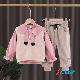 Bebé femenino otoño traje coreano niña estilo extranjero traje de tres piezas niña primavera y otoño red rojo 2021 nueva ropa para niños