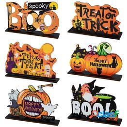 Colgante de madera de halloween adornos de madera de halloween calabaza fantasma truco o trato colgantes decoración de fiesta de halloween para el hogar