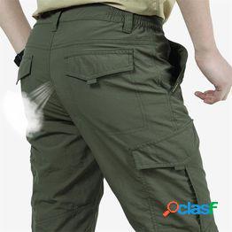 Pantalones tácticos ligeros de los hombres transpirable verano casual ejército militar pantalones largos hombre impermeable pantalones de carga de secado rápido