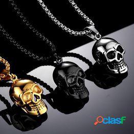 Punk men fashion hip-hop plateado gold skull collar acero inoxidable joyas regalo