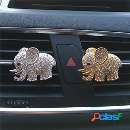 Metal elefante cristalino que diseña el ambientador de aire del mercado del aire del coche del clip del perfume del coche