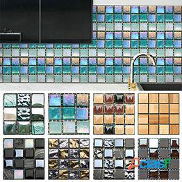 10 unids 3d impermeable vinilo etiqueta de la pared mosaico azulejo backsplash autoadhesivo etiqueta de la pared decoración para el hogar