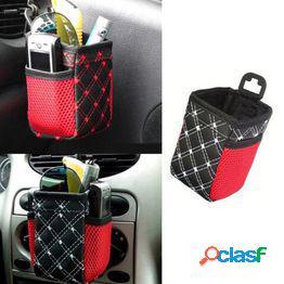 Cuero sintético auto car salida de aire teléfono móvil bolsillo caja de almacenamiento bolsa bebida soporte para colgar chan1