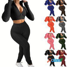 2021 otoño e invierno nueva ropa europea y americana para mujer moda casual color sólido dos piezas piña plaid traje deportivo para mujer