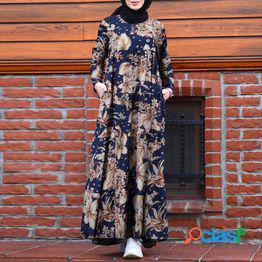 Zanzea retro dubai abaya turkey hijab vestido mujer vintage floral impreso maxi sundress verano manga larga kaftan musulmán vestido