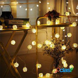 Ac110-220v 20/40/100 leds blanco cálido bola de ratán luz de cadena led luz de vacaciones de navidad para navidad decoración del banquete de boda
