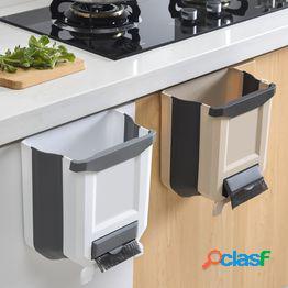 Bote de basura plegable compacto pequeño del cubo de basura de la cocina que cuelga conectado al gabinete