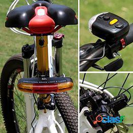 Led bicicleta bicicleta señal de giro direccional luz de freno lámpara 8 sonido bocina