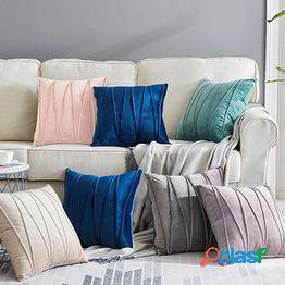 Color sólido suave terciopelo raya almohadas decorativas fundas de almohada fundas de almohada fundas de cojines para sala de estar sofá funda de almohada 2pcs/set