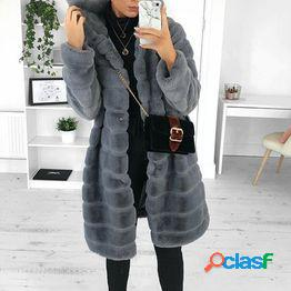 Women's loose casual winter warm faux fur coat long sleeve hooded jacket solid color furry plush fashion