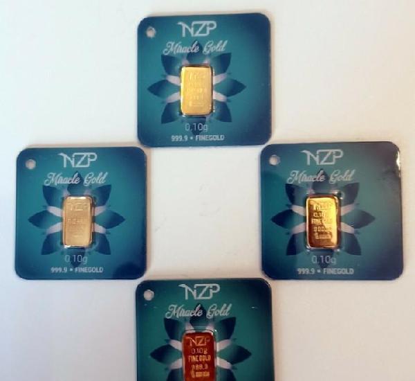 4 lingotes de oro por cada 0,10 gramos de oro nzp 999,9 de