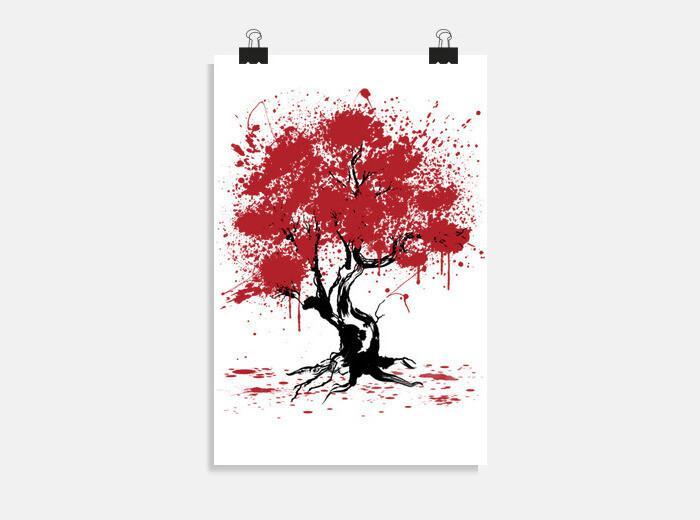 Póster Sakura Tree Painting