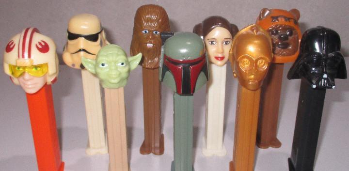 Lote 9 dispensadores pez, star wars, darth vader, chewbacca,