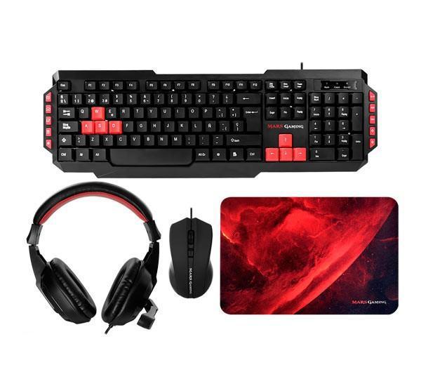 Pack teclado-mouse-pad-headset mars gaming kit 4 en 1 de